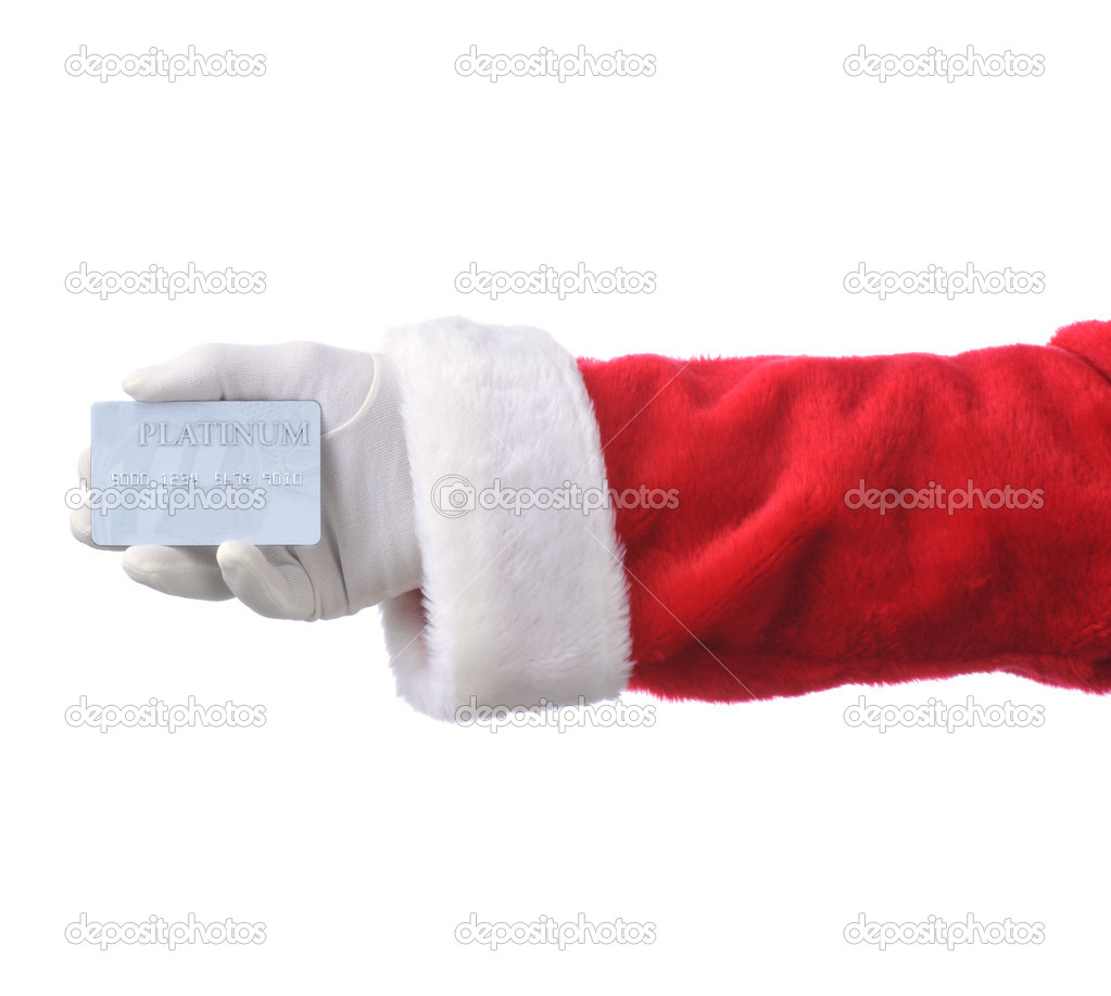 Santa Holding Credit Card in His Hand isolated over white — Stock Photo #2093912