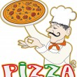 Stock Vector: Chef with pizza