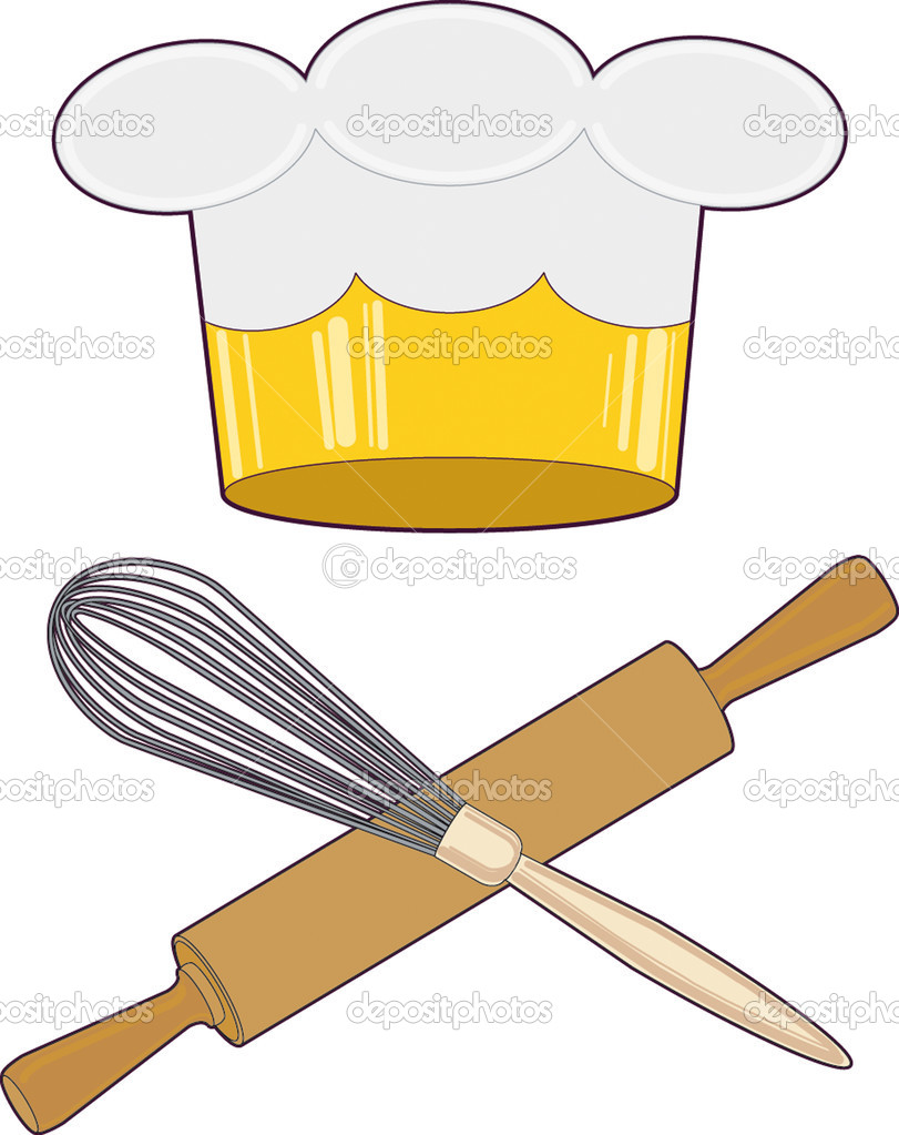 Cook's hat with a symbolic crown and kitchen utensils. — Stock Vector #2018696