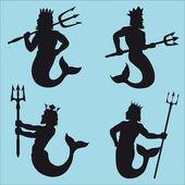 Neptun sylwetki — Wektor stockowy
