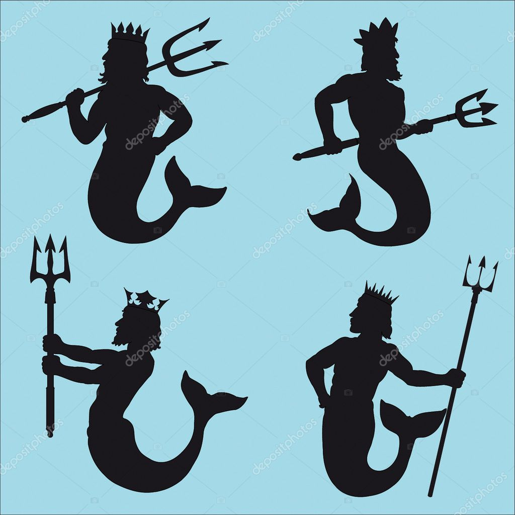 Neptune - god of the sea.Four silhouettes. — Stock Vector #2186452