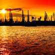 Sunset industry orange — Stock Photo