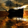 Stock Photo: Ship sunset