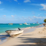 Exotic Beach boat in Dominican Republic — Stock Photo