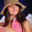 Pretty young girl like a angel — Stock Photo