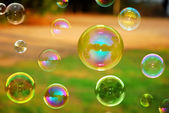Soap Autumn bubbles — Stock Photo