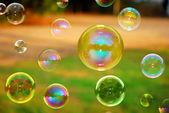 Soap Autumn bubbles — Stock Photo