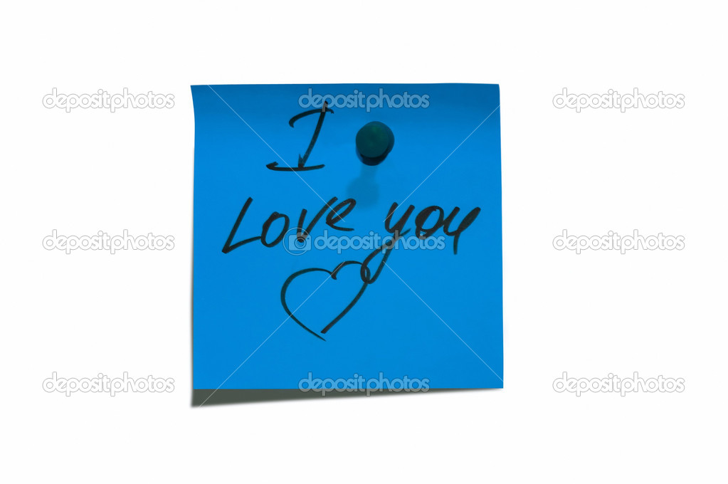 Sticky post it note with  I Love You wording — Stock Photo #2074334