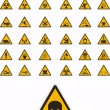 Warning and safety signs — Stockvectorbeeld