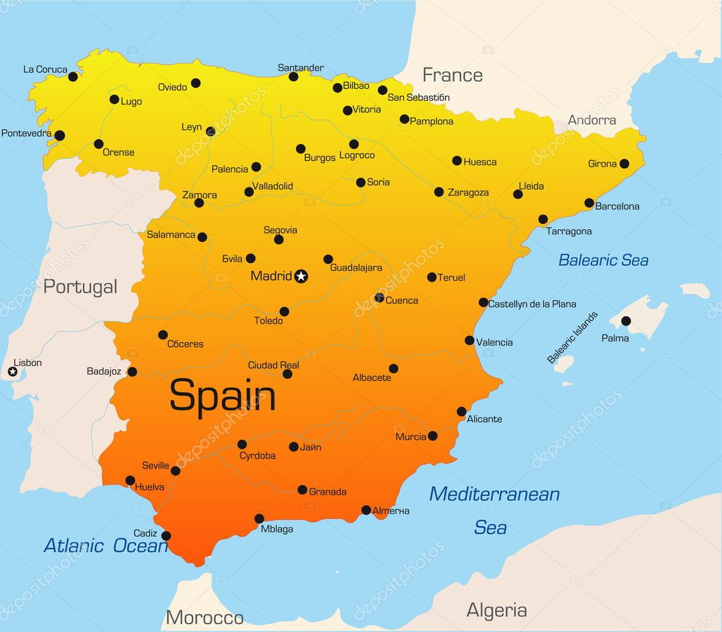 Spain map — Stock Vector # ...