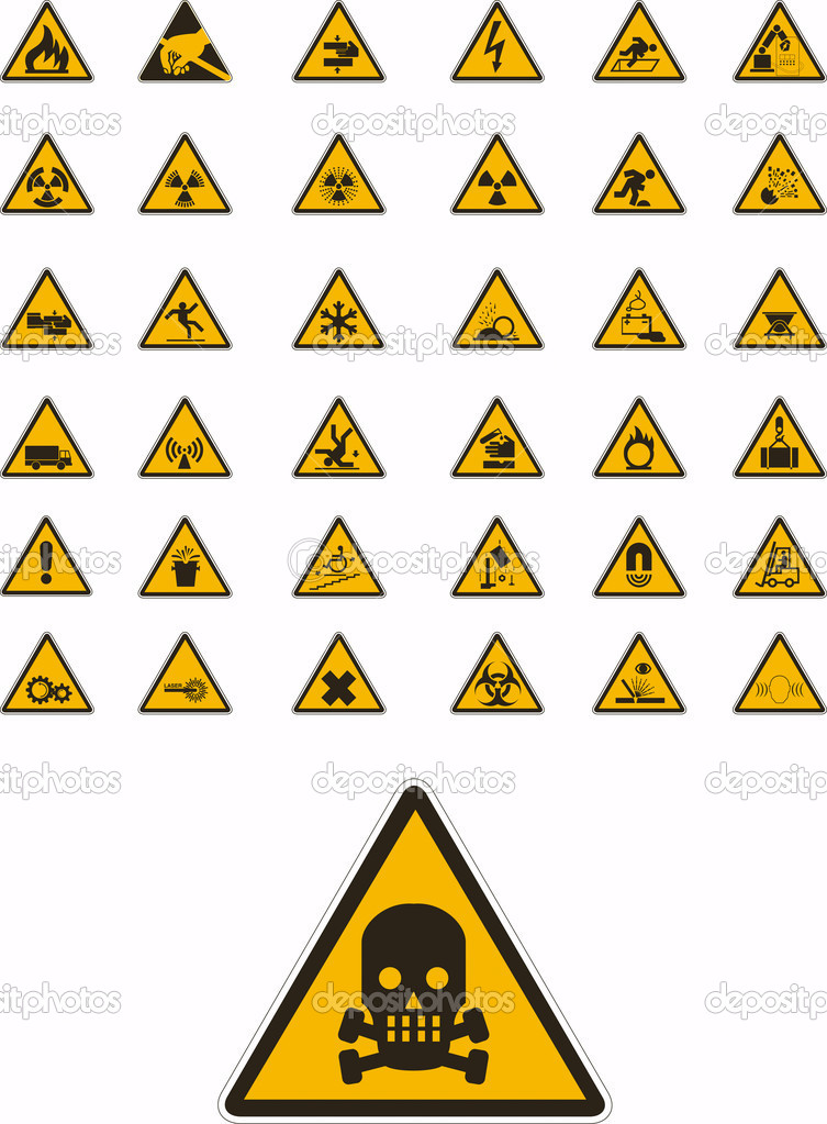 Abstract vector warning and safety signs — Imagen vectorial #2082064