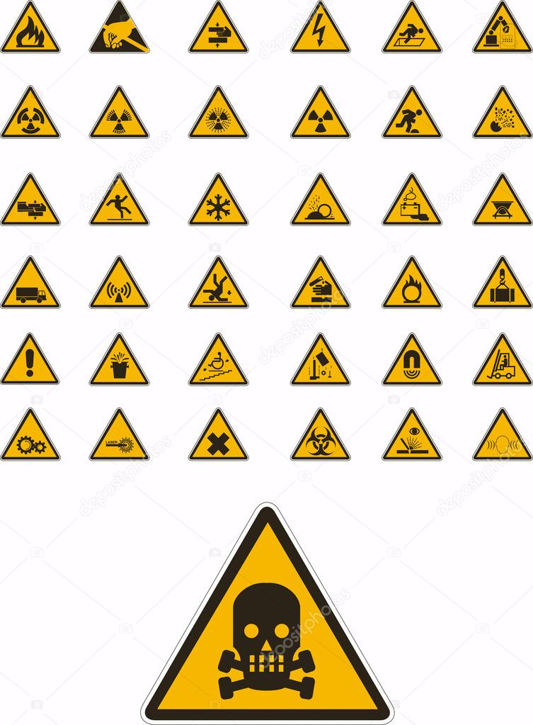 Abstract vector warning and safety signs — ベクター素材ストック #2082064