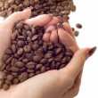 Royalty-Free Stock Photo: Female hands and coffee beans