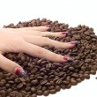 Stock Photo: Female hand and coffee beans