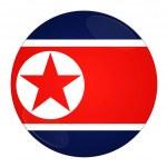 North Korea button with flag — Stock Photo