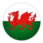 Wales button with flag — Stock Photo