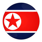 North Korea button with flag — Stock Photo