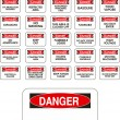 Stock Vector: Red vector danger signs