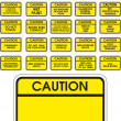 Stock Vector: Yellow vector caution signs