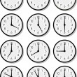 Stock Vector: Vector clock faces