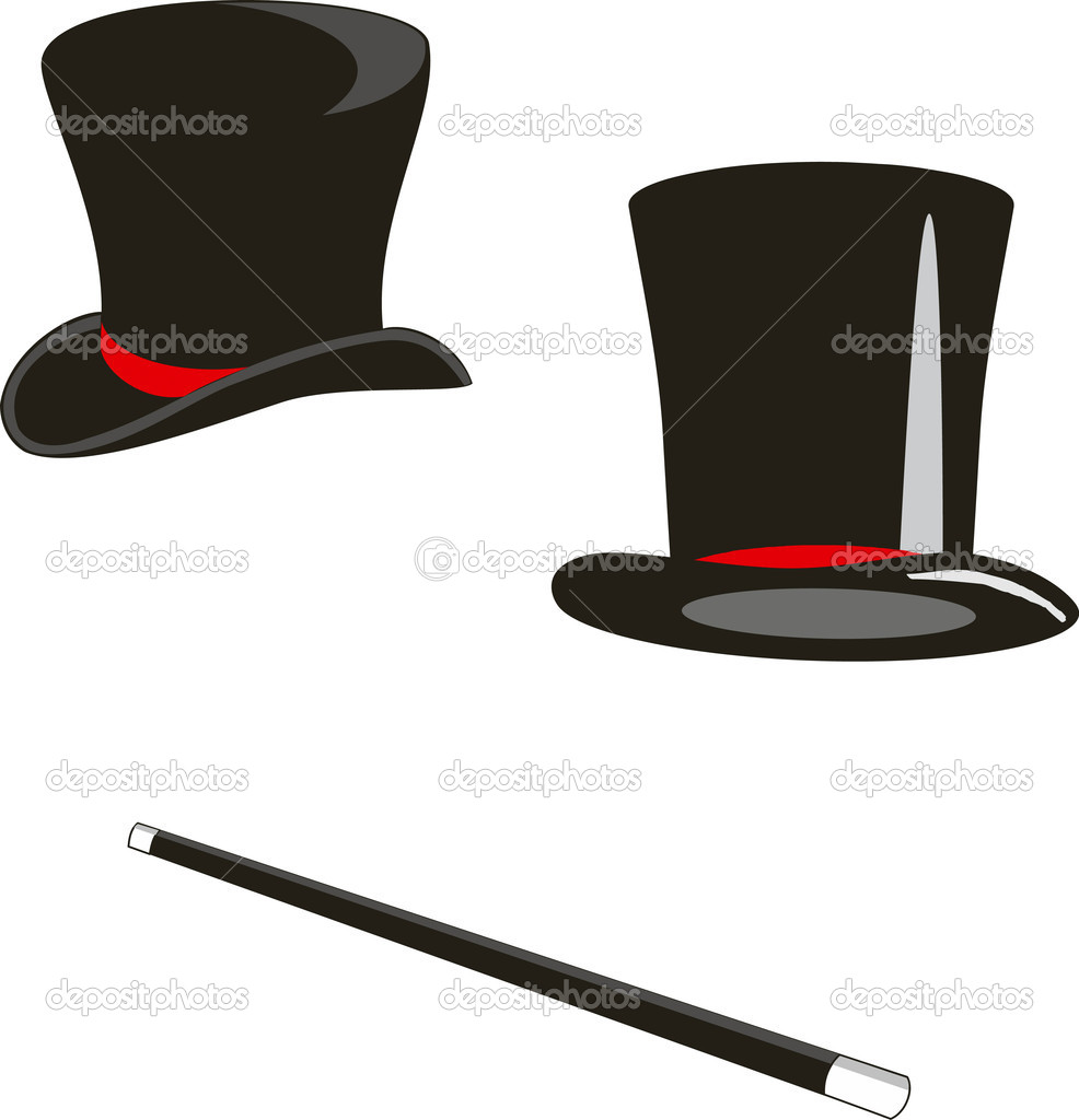 Vector illustration: magic hats and cane — Stock Vector #2105664