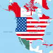 Map of north america — Vector de stock