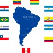 Map of south america — Stock Vector
