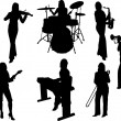 Group of music girls silhouette — Stock Vector