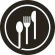 Plate with fork, knife and spoon — Vector de stock