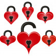 Lock and unlock red hearts — Stock Vector