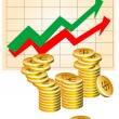 Business graph with coins — Stock Vector