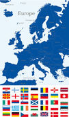 Mapa da europa — Vetorial Stock