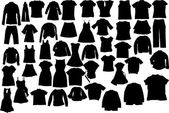 Vector clothes silhuettes — Stock Vector