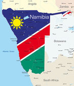 Abstract vector color map of Namibia country colored by national flag — Stockvector