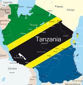 Mapa de color del vector abstracto del país de tanzania de colores de la bandera nacional — Vector de stock