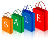 Sale shopping bags. — Stockvector