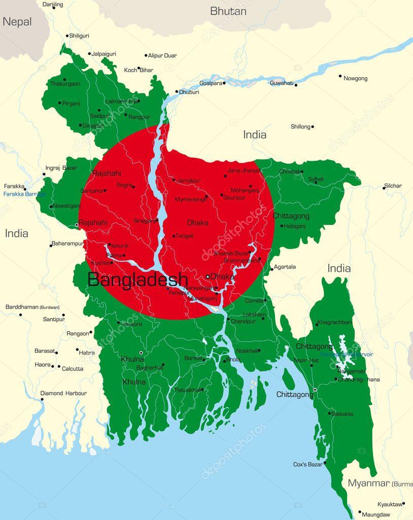 孟加拉国国家的国旗色的矢量地图