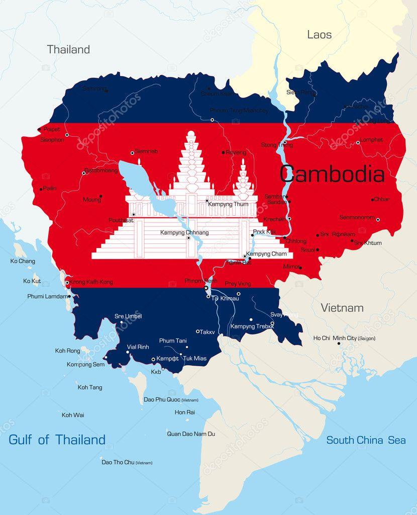 柬埔寨国家的国旗色的矢量地图