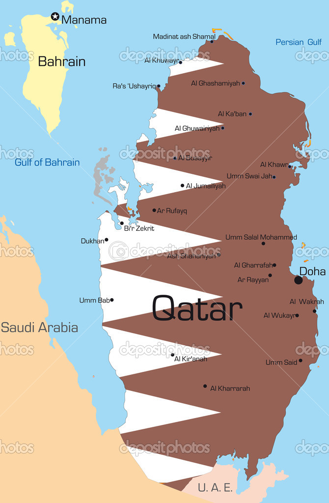 Abstract vector color map of Qatar country colored by national flag  Stock Vector #2122216