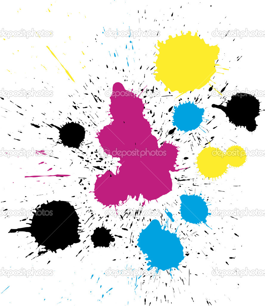 Abstract vector grungy colorful CMYK paint drops — Stock Vector #2125049