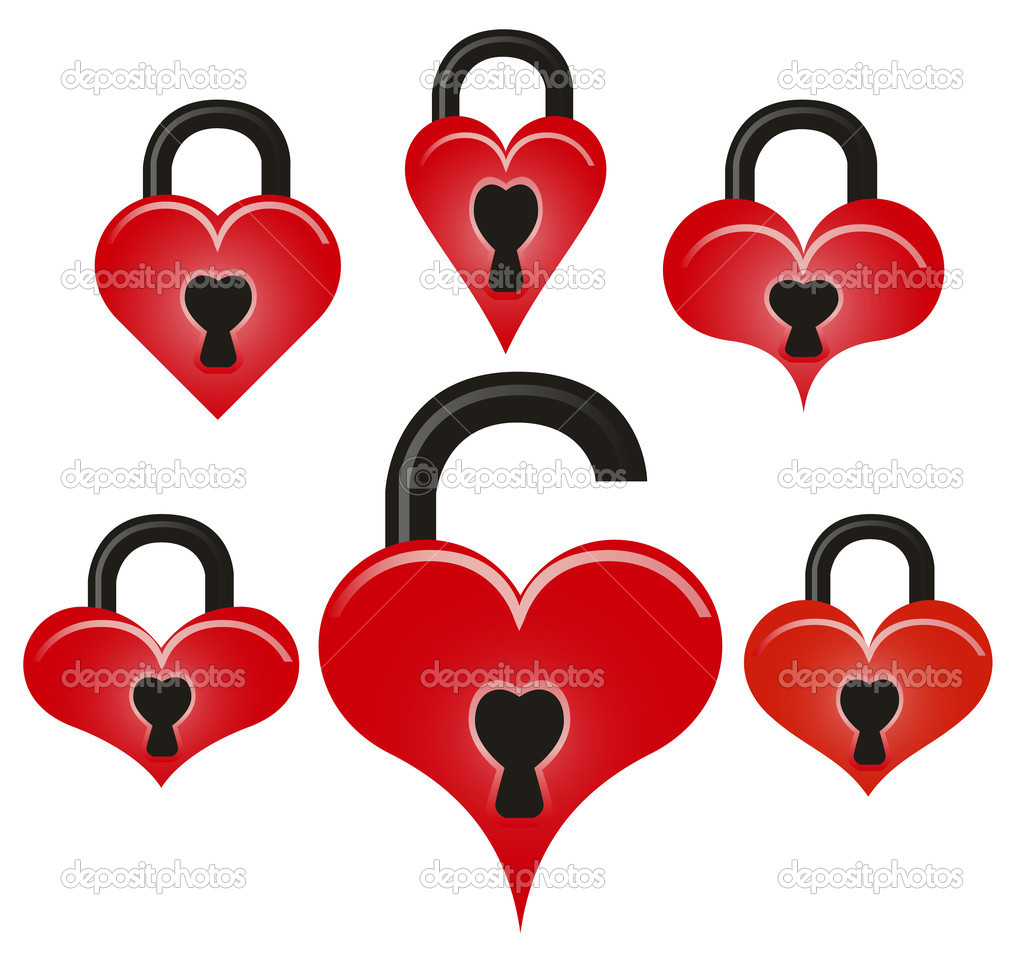 Abstract vector lock and unlock red hearts on white background — Stock Vector #2125346