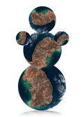 Snowman by Earth planet — Stock Photo