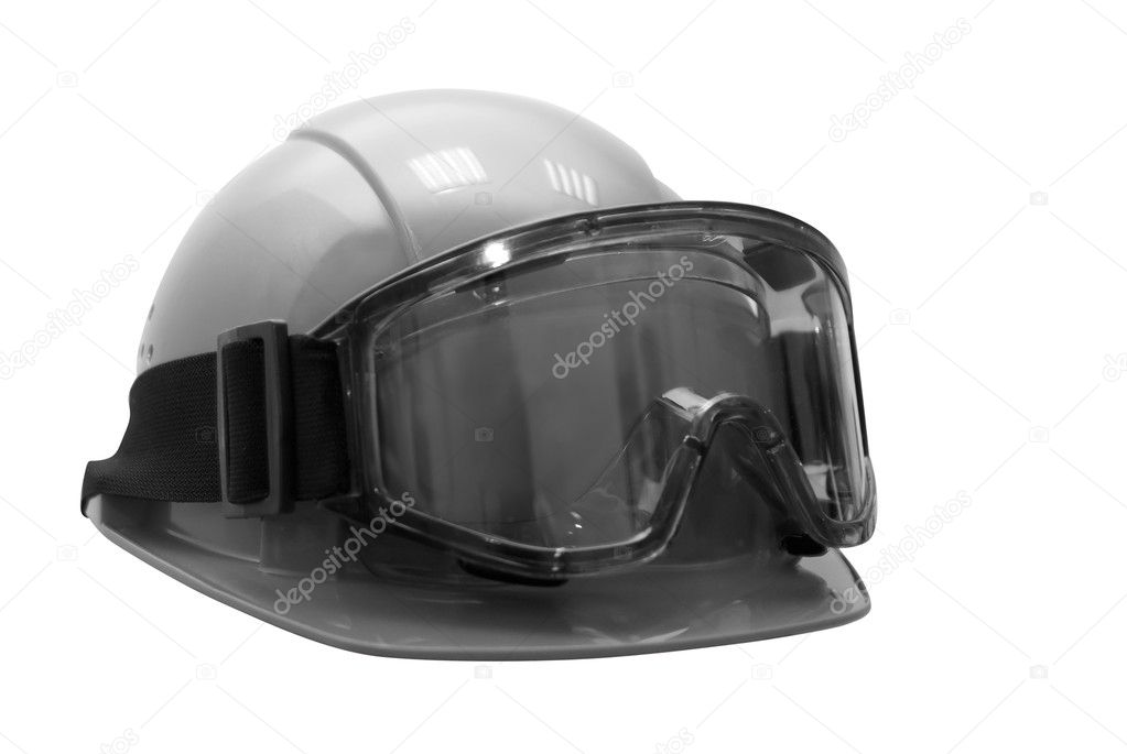 Build helmet with goggles on white. Black and white photo — Stock Photo #2133773