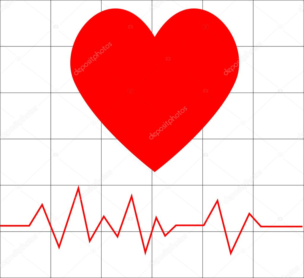 Vector illustrations of heart beat  Stock Vector #2137558