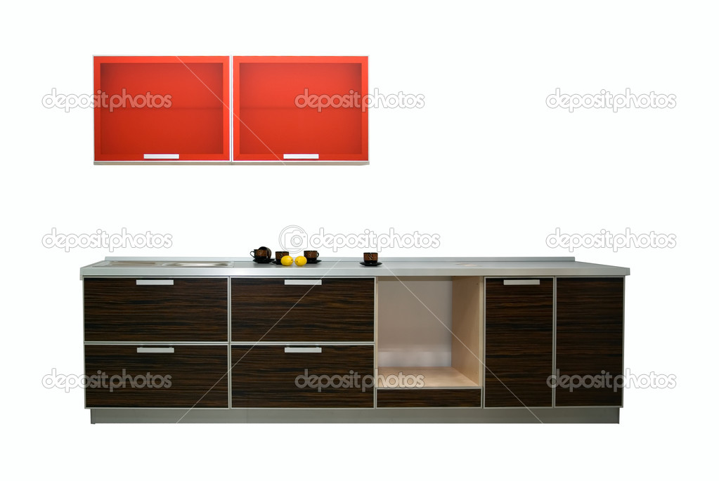 Modern new kitchen isolated on white background  Stock Photo #2153172