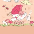 Royalty-Free Stock Imagen vectorial: Baby girl announcement card