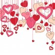 Hanging hearts - Stock Vector