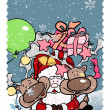 Santa and his reindee - Stock Vector
