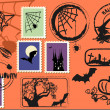 Stock Vector: Halloween postage set