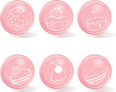 Glossy buttons - icon set of sweets — Stock Vector